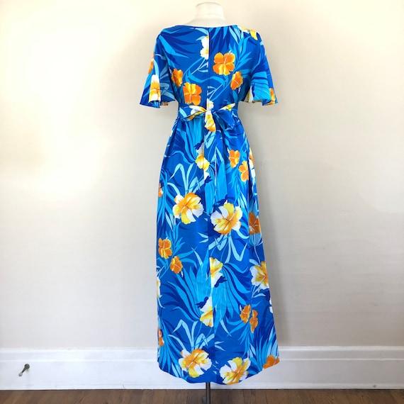 vintage 60s Hawaiian maxi dress | flutter sleeve … - image 7