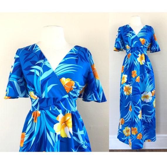 vintage 60s Hawaiian maxi dress   flutter sleeve e