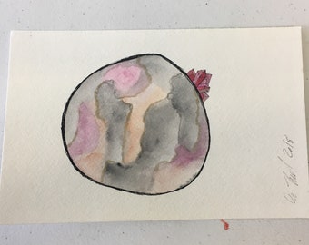 Crystal Moon || watercolor, space, galacy, art, painting, original