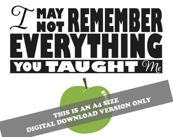 A4 Digital Download Version Only 'Teacher's Gift- Apple print'