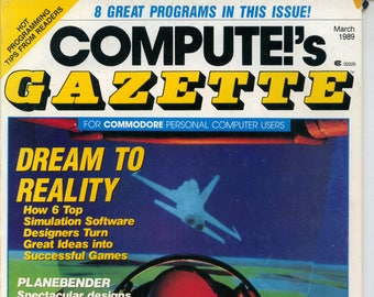 Compute!'s Gazette Magazine March 1989 Very Good