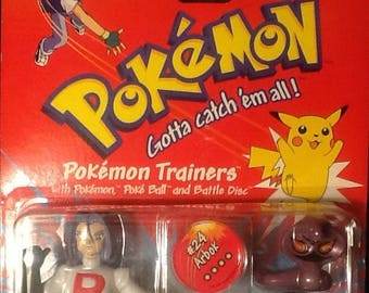 "Pokemon 5"" Trainers Team Rocket James Figure With #24 Arbok MINT Hasbro"