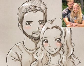 Personalized couple pencil sketch caricature