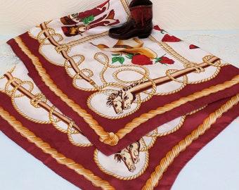 1ad9928a75628 Vintage Western Themed Rockabilly Silk Scarf signed by Theodora Lukanow
