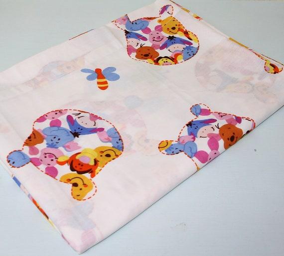 NEW Vintage PolyCotton Fabric WINNIE THE POO Cream Nursery Baby Reduced Price