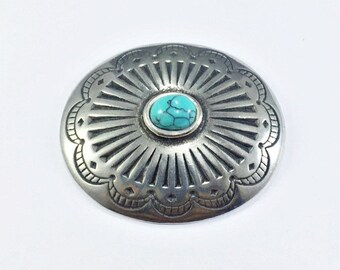 Western Native American Silver Concho Turquoise Navajo Screw Back Accessory Leather Craft Wallet Belt Fashion Cowboy style