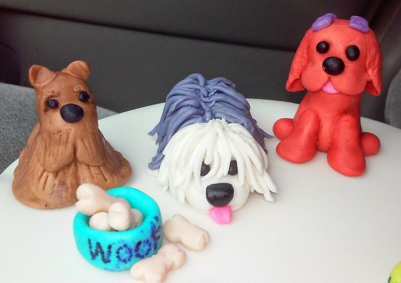 3 Dog Fondant Figures