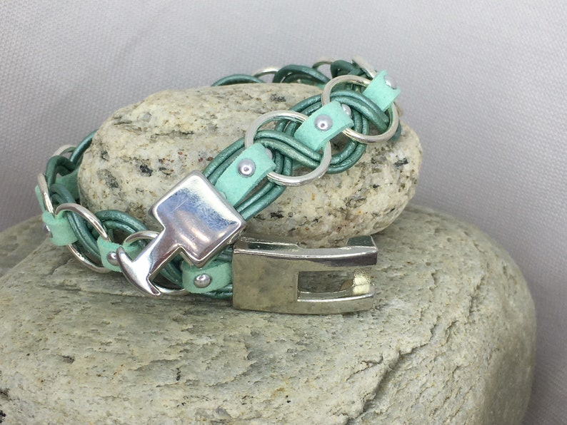 18th birthday gift girl Mint and teal leather bracelet pulsera,