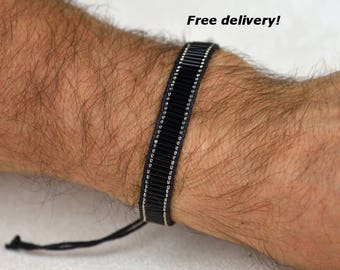Men Bracelet, men jewelry, beadwoven bracelet in silver black - for men, bracelet  for men
