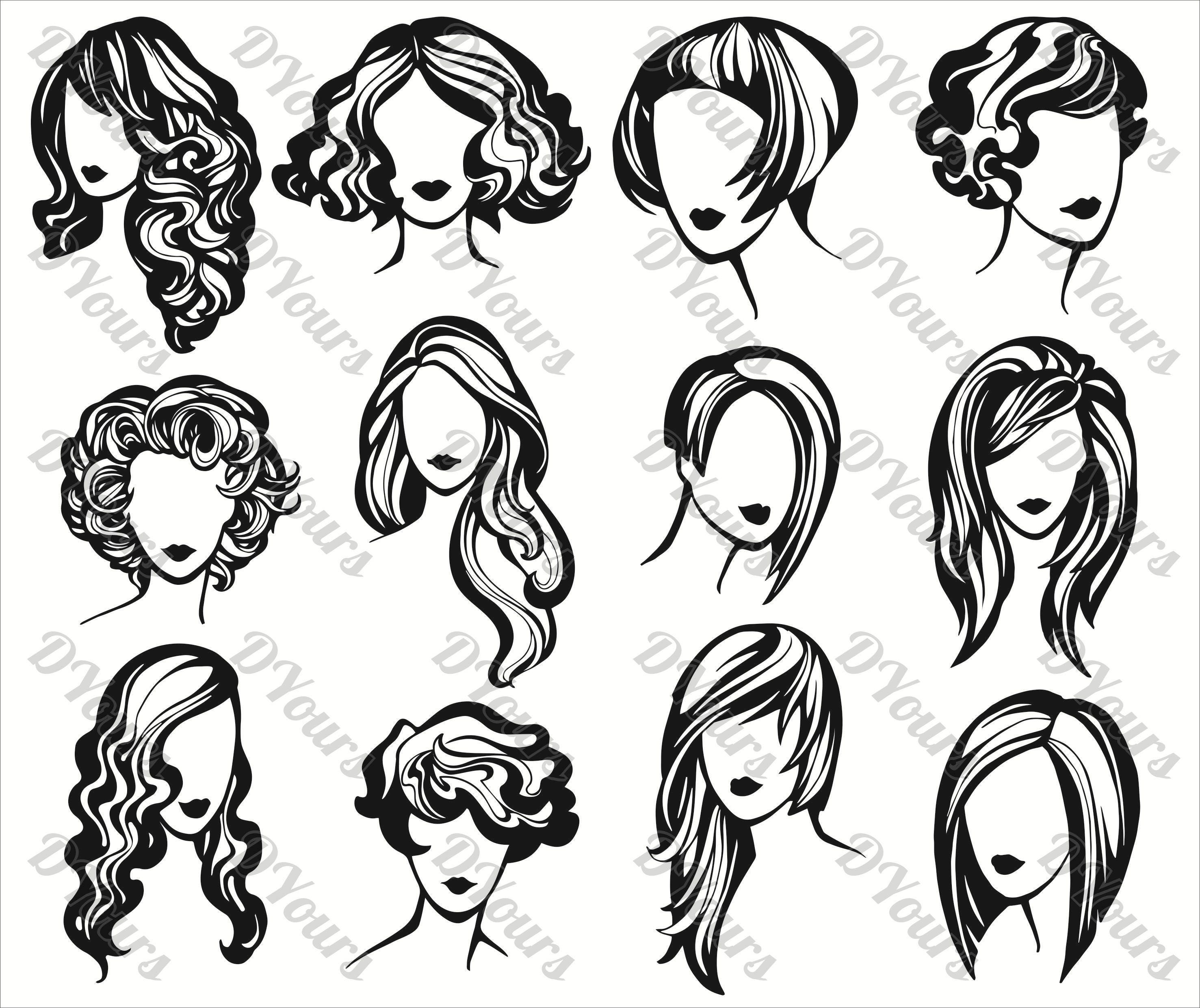 Women Hair Styling Vector Collection Hairdresser svg cdr ai | Etsy