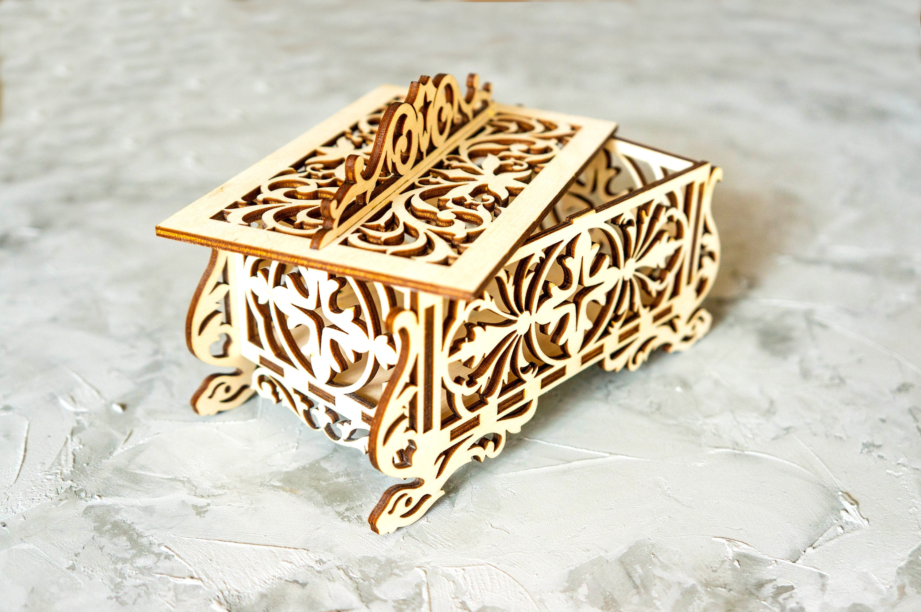ornamented fine art jewelry box plans for laser cnc cutting wooden gift box  plywood box wood cut model svg pdf files for cnc laser cutting
