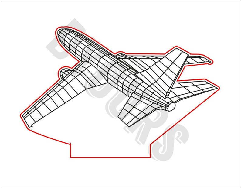 Instant Download Files for Laser Cutting Printing CNC Engraving Clipart Airplane 3D Lamp Vector Model svg cdr pdf dxf files