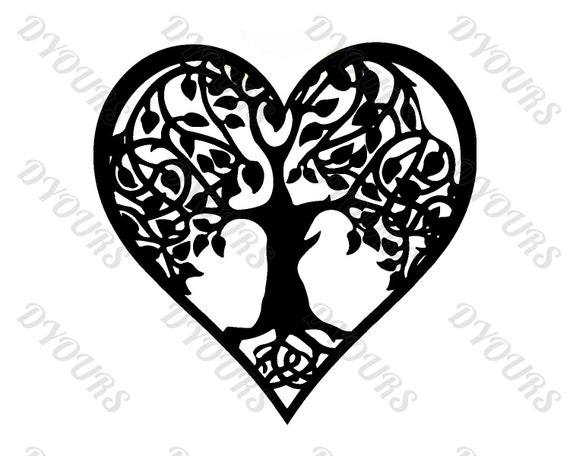 Heart Shaped Tree of Life Wall Art -svg cdr pdf dxf files- Instant Download  Files for Laser Cutting Printing CNC Engraving Clipart