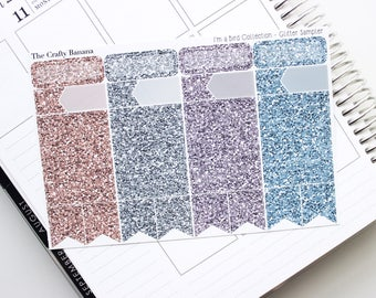 The Notebook Glitter Sampler - I'm a Bird Collection  - Pantone Color Glitter Headers - 1 Sheet