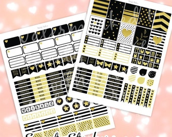 Gold & Black Weekly Planner Stickers Printable ღ Printable Planner Stickers ღ Erin Condren + MAMBI Stickers // Instant Digital Download