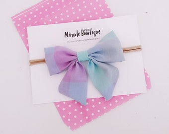 Hair bow, baby headbands, pastel bow, plaid bow