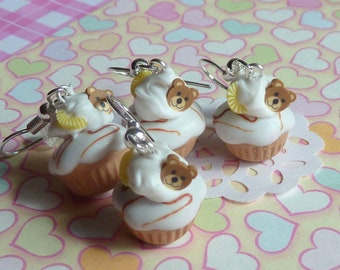Bear Cupcakes Vanilla Frosting Earrings