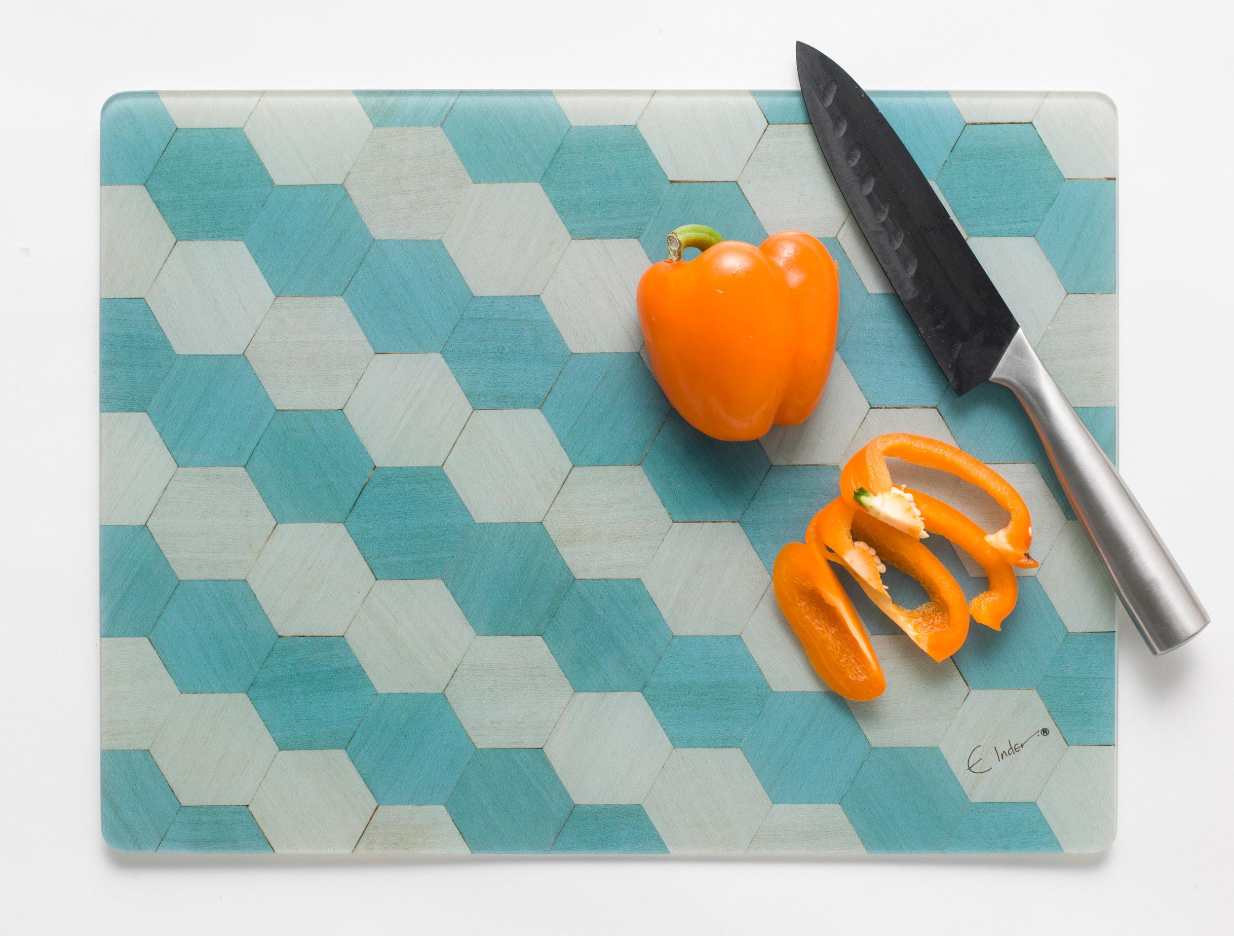 Glass chopping board geometric cutting board Birthday gifts | Etsy