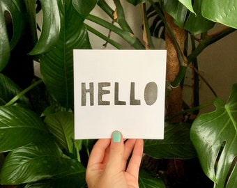 HELLO Letterpress Greetings Card - Single Card or Pack of 5