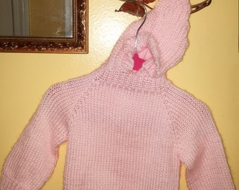 Back-zippered baby sweater with hood