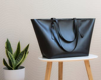 Leather tote bag, womens Gift, Laptop bag, black leather bag with inside pocket and pouch, Large shopper, Shopping bag, bag college, Zipper