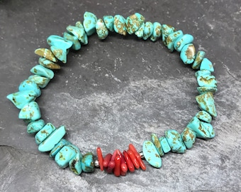 Turquoise Gemstone Chips/Turquoise Chips/Red Coral Sticks/Coral Sticks/Gemstone Chips/Stretch Bracelet/Jewelry/Handmade/Stack Able