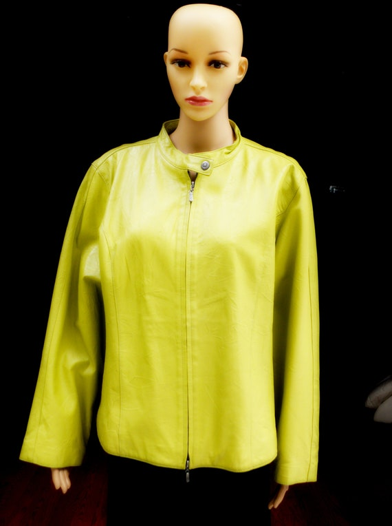 Genuine Leather Statement Jacket Chartreuse