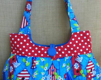Bye Birdie, fabric, handbags and purses,women's purses,shoulder bags,tote,blue,red