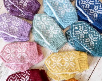 Hand-knitted Nordic/Fairisle Style Baby Mittens, Selbu Mittens