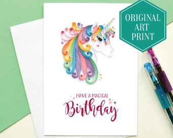 Rainbow Unicorn Birthday Card, Cute Unicorn Card, Cards for Her, Best friend card, Printed unicorn card, Personalised unicorn card