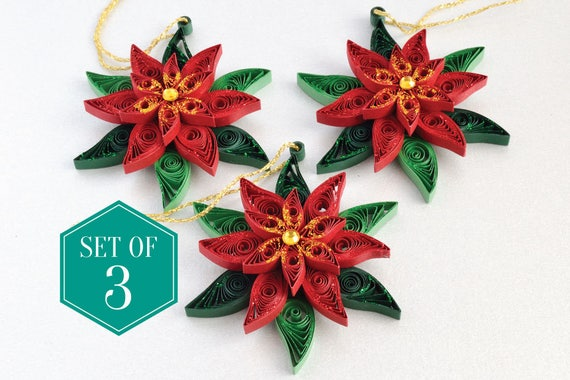 image 0 - Poinsettia Christmas Tree Decorations