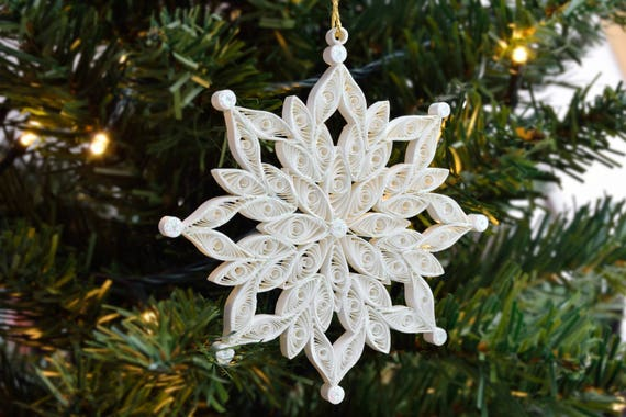 snowflake quilling ornament christmas decoration quilled etsy
