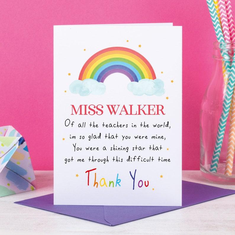 rainbow teacher card thank you card teaching assistant