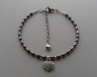 Tahitian pearl anklet for woman adjustable in size Perfect beach jewel!