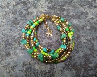 turquoise bracelet, boho hippie bracelet, turquoise jewellery, bohemian bracelet, starfish bracelet, bracelet for women, beaded bracelet
