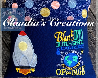 Complete Rocket set: Blast off into outer space appliqué and saying, Rocket appliqué design and Saying Set