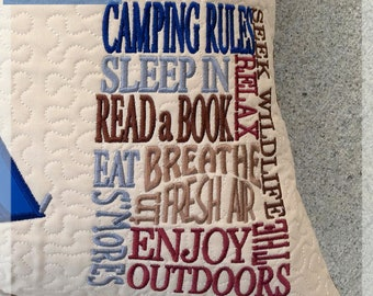 Camping Rules Embroidery Saying, Sleep in, Read a Book, Enjoy the Outdoors Reading Pillow Embroidery Saying, Pocket Pillow Verse