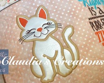 Kitty Cat appliqué, Standing Cat appliqué design, Smiling Kitten appliqué
