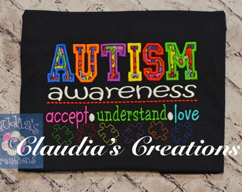 6x10 and 7x12 ONLY Autism Awareness Embroidery Saying, Accept, Understand, Love Puzzle Pieces Saying