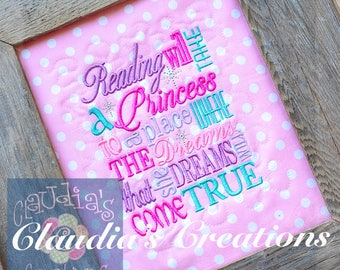 Princess Subway Embroidery Saying, Princess Reading Pillow Saying, Princess Pocket Pillow Verse