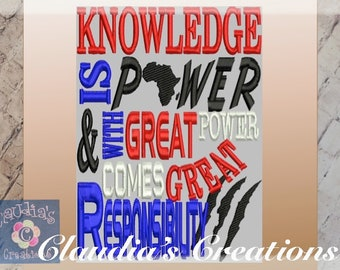 Knowledge is Power(Panther) Embroidery Saying, With great Power Comes great responsibility Pocket Pillow Saying