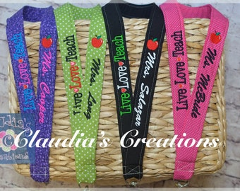 Digital File -Wording ONLY- Live Love Teach words with hearts, Apple Charm, Lanyards Wording ONLY