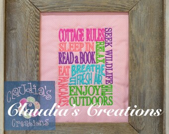Cottage Rules Embroidery Saying, Sleep in, Read a Book, Enjoy the Outdoors Reading Pillow Embroidery Saying, Pocket Pillow Verse