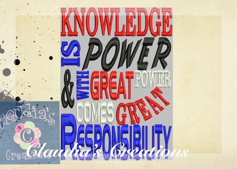Knowledge is Power Embroidery Saying With great Power Comes great responsibility Pocket Pillow Saying