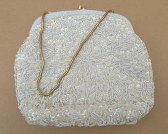 Vintage Beaded Bag, Evening Purse, White Beaded Purse, Simpsons, Satin Purse
