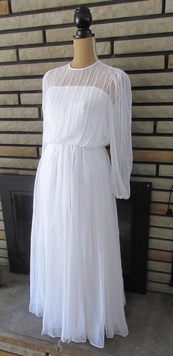 Long White Chiffon Dress, Vintage Wedding Dress, B