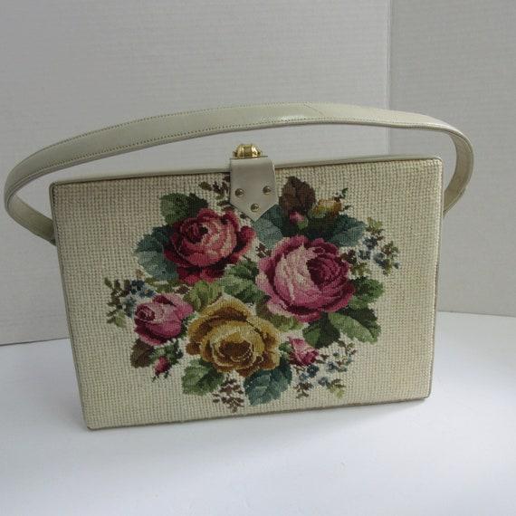 Vintage Tapestry Purse, Needlepoint Handbag, Leath