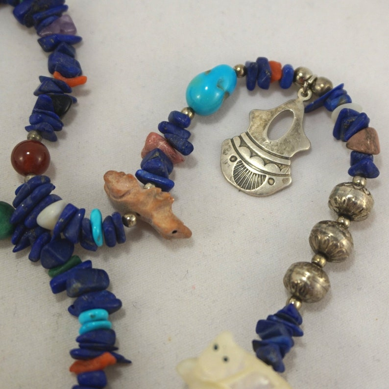Vintage Sterling Silver Native American Bench Bead Charm Lapis Multi Gemstone Stone Fetish Necklace