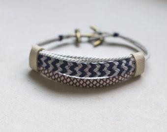 Braided Bracelet, Cotton bracelet, Anchor Jewelry, Anchor Bracelet, Fabric Jewelry, Nautic Bracelet, Surf Jewelry, Fiber Bracelet, Wristband