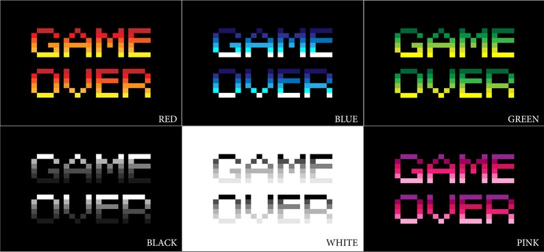 Game Over Pixel Posters 12x16 CLEARANCE Matte Finish